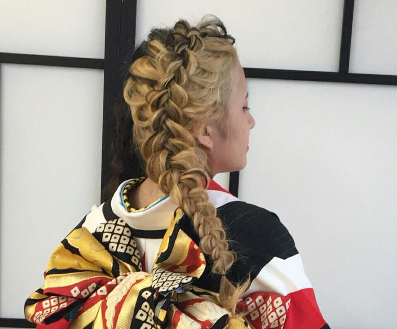 和装 ヘアアレンジ 着物 編み込み ヘアスタイルや髪型の写真・画像