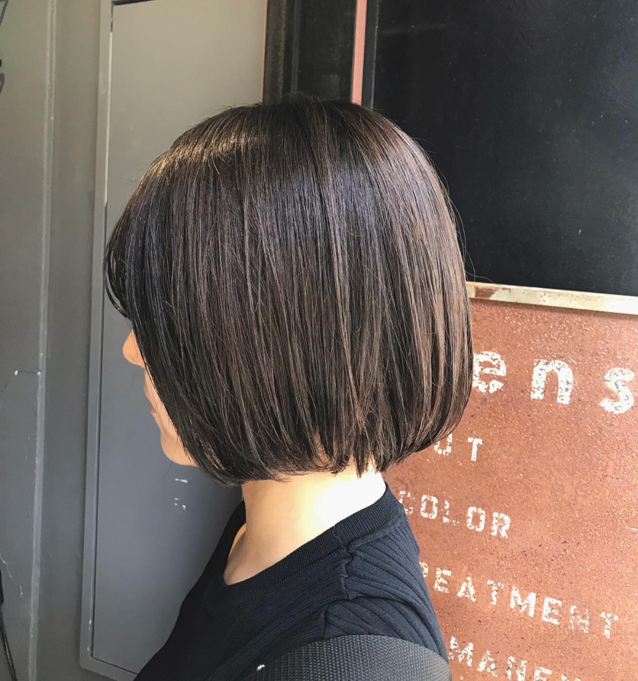 ミニボブ oggiotto ナチュラル ブリーチなし ヘアスタイルや髪型の写真・画像