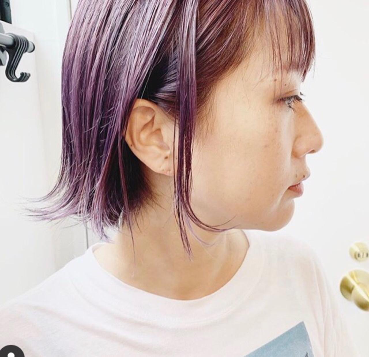 ラベンダーグレージュ ミルクティーグレージュ ラベンダーアッシュ ボブ ヘアスタイルや髪型の写真・画像