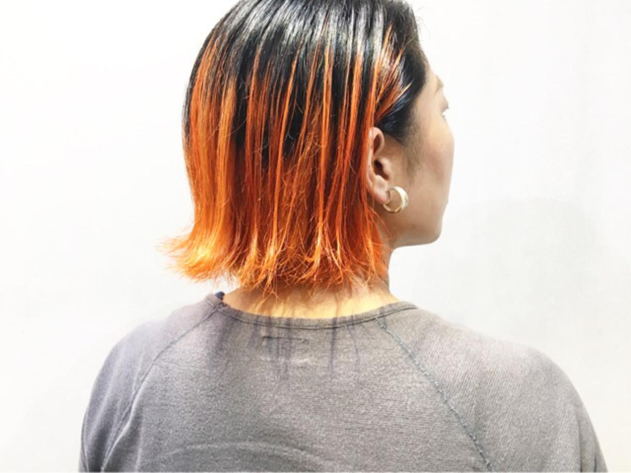 ボブ オレンジベージュ オレンジカラー オレンジブラウン ヘアスタイルや髪型の写真・画像