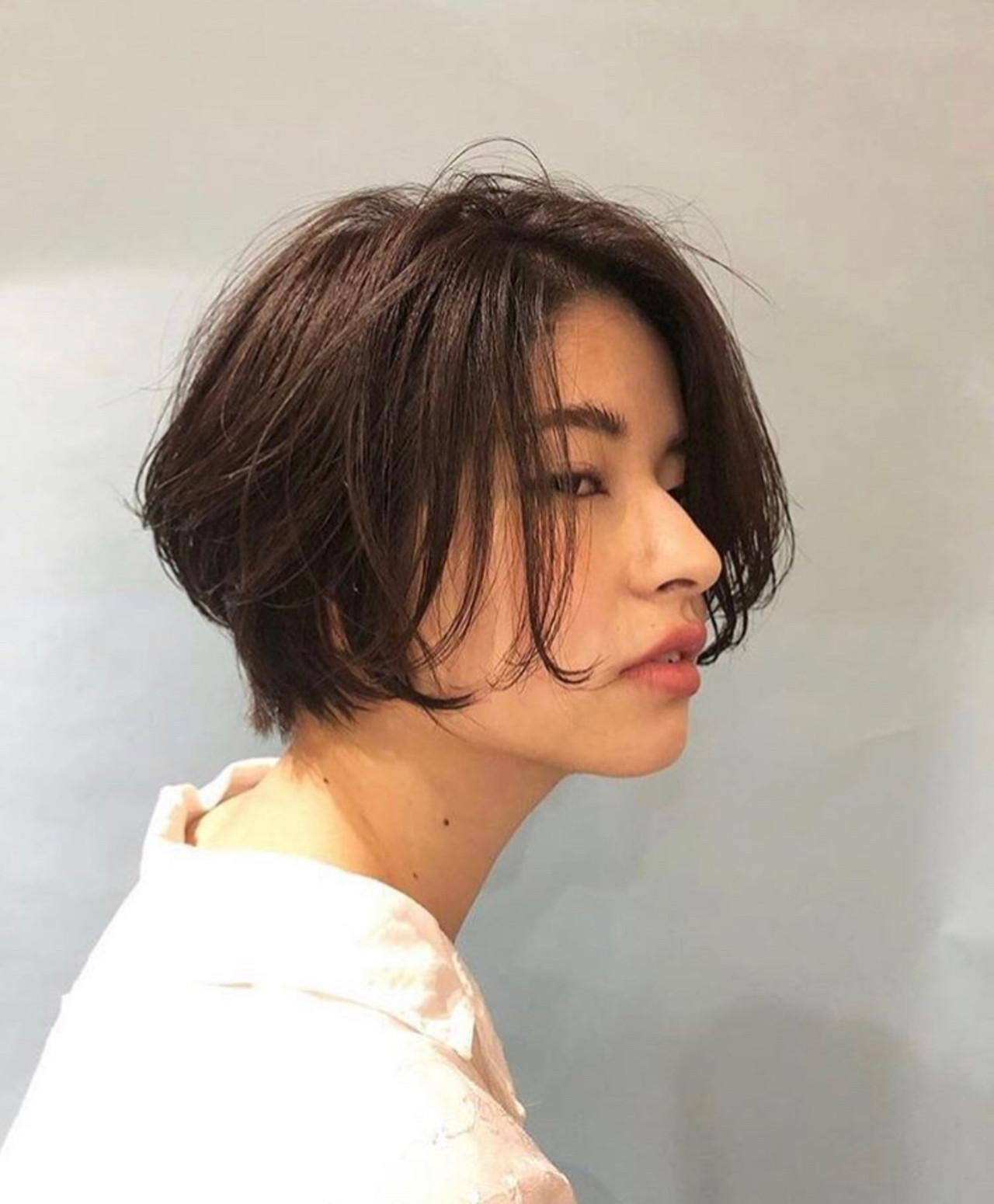 ショートボブ ショートヘア 小顔ショート 小顔ヘア ヘアスタイルや髪型の写真・画像