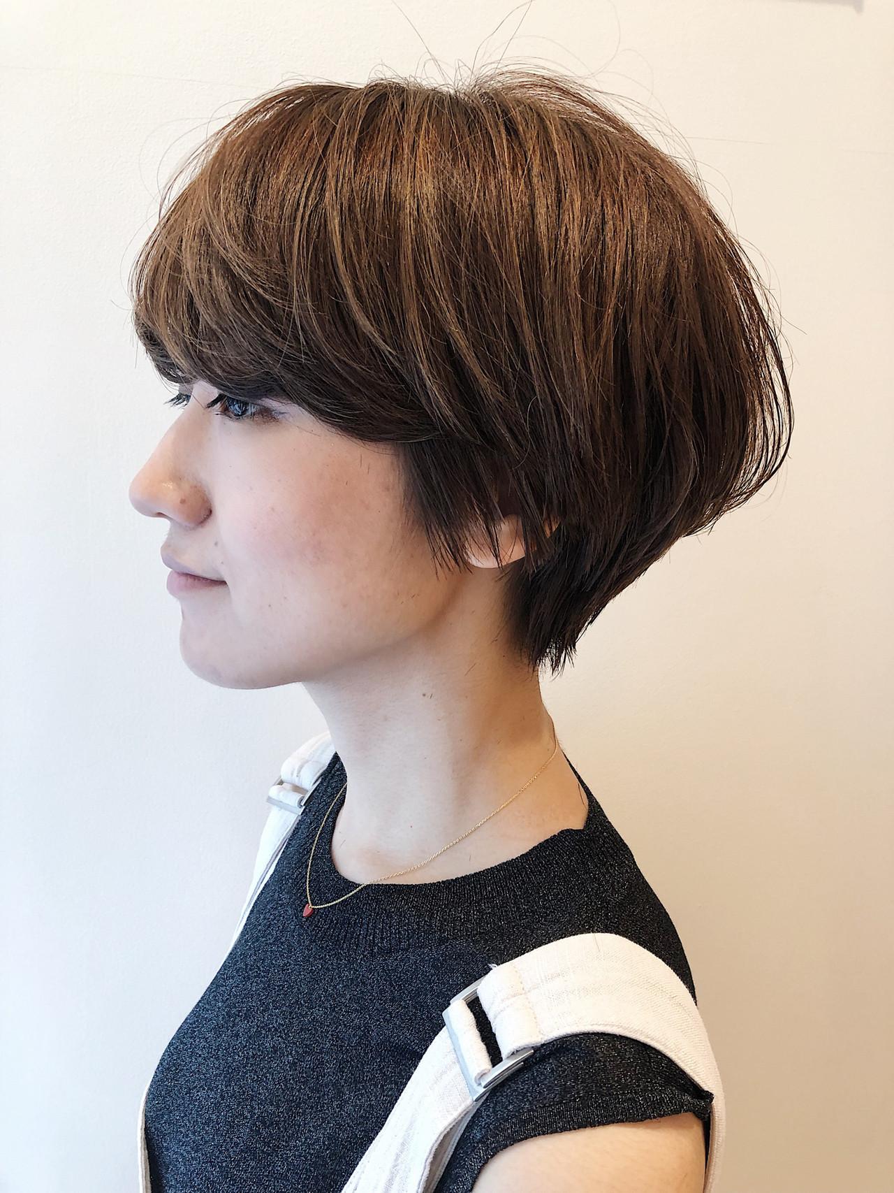 ナチュラル マッシュショート ショートヘア 小顔ショート ヘアスタイルや髪型の写真・画像