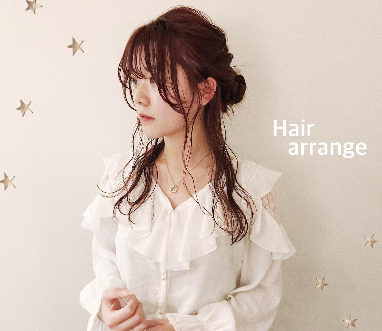 ゆるナチュラル ハーフアップ ゆる巻き ロング ヘアスタイルや髪型の写真・画像