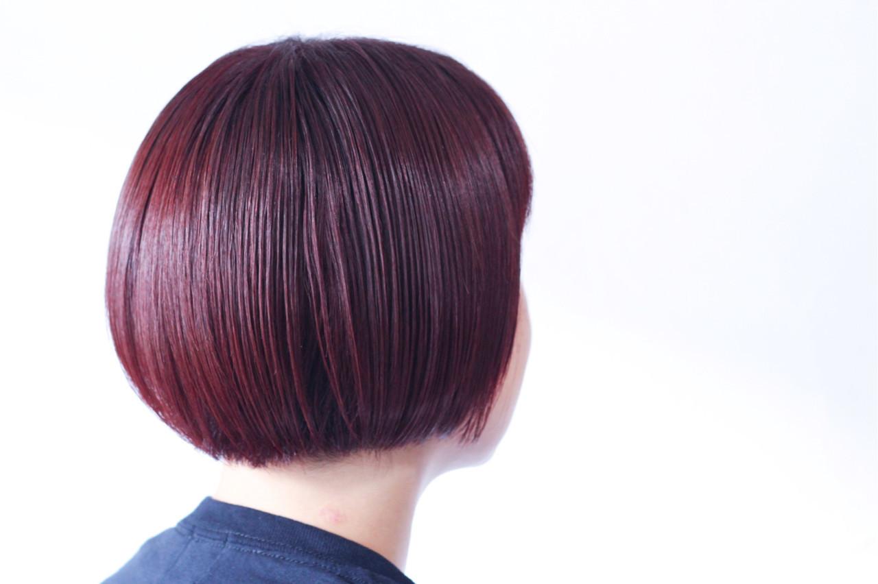 ピンク マッシュショート ナチュラル ベリーピンク ヘアスタイルや髪型の写真・画像
