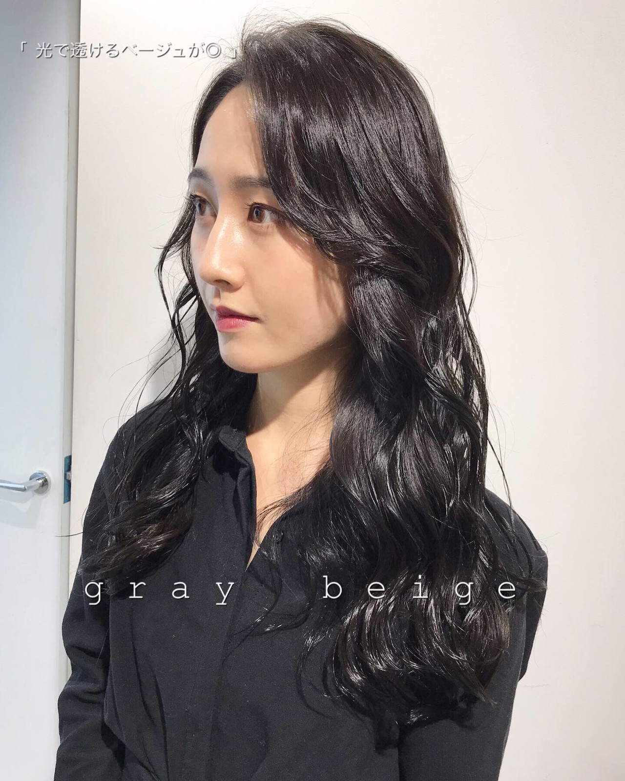 ネイビー 暗髪 ブルーブラック モード ヘアスタイルや髪型の写真・画像