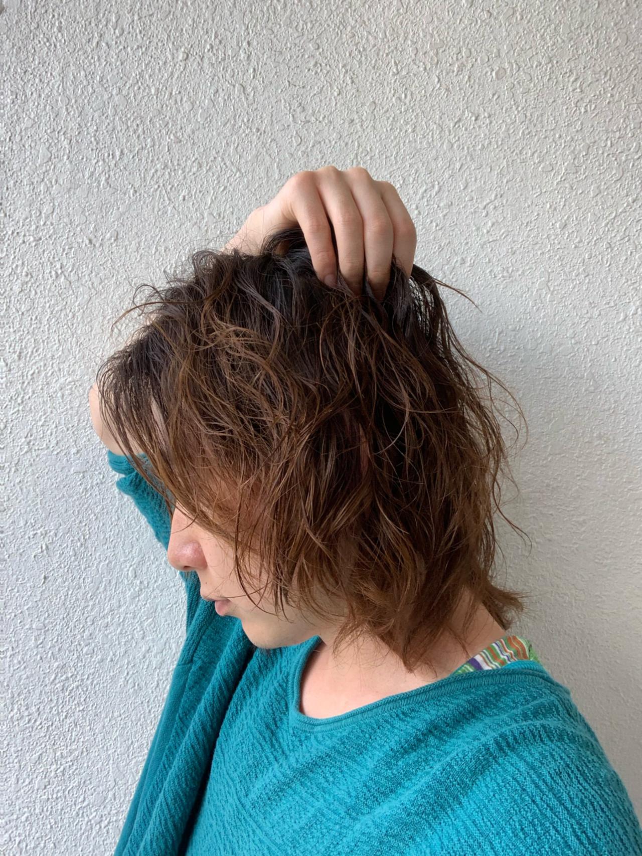 ボブ 無造作パーマ メンズスタイル ストリート ヘアスタイルや髪型の写真・画像