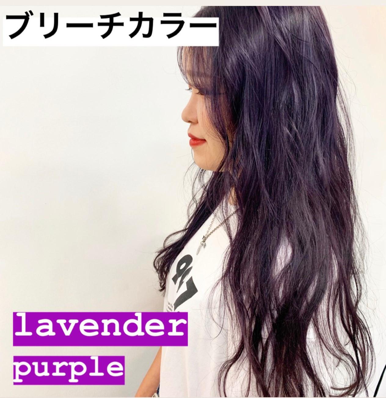 ブリーチ ラベンダーアッシュ パープルカラー ラベンダーグレージュ ヘアスタイルや髪型の写真・画像