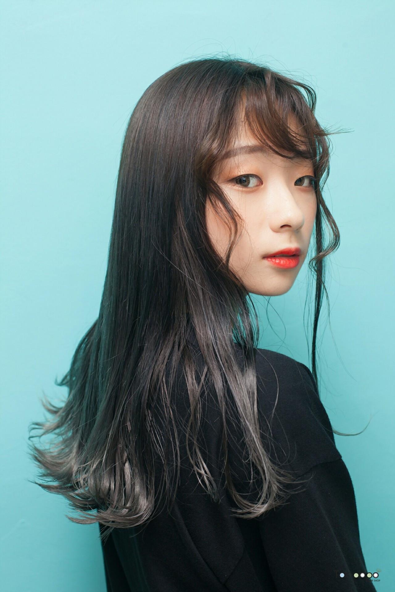 モード ロング オルチャン ヘアスタイルや髪型の写真・画像