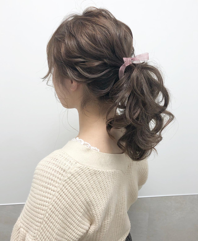 ロング ハイトーン ポニーテール 大人可愛い ヘアスタイルや髪型の写真・画像