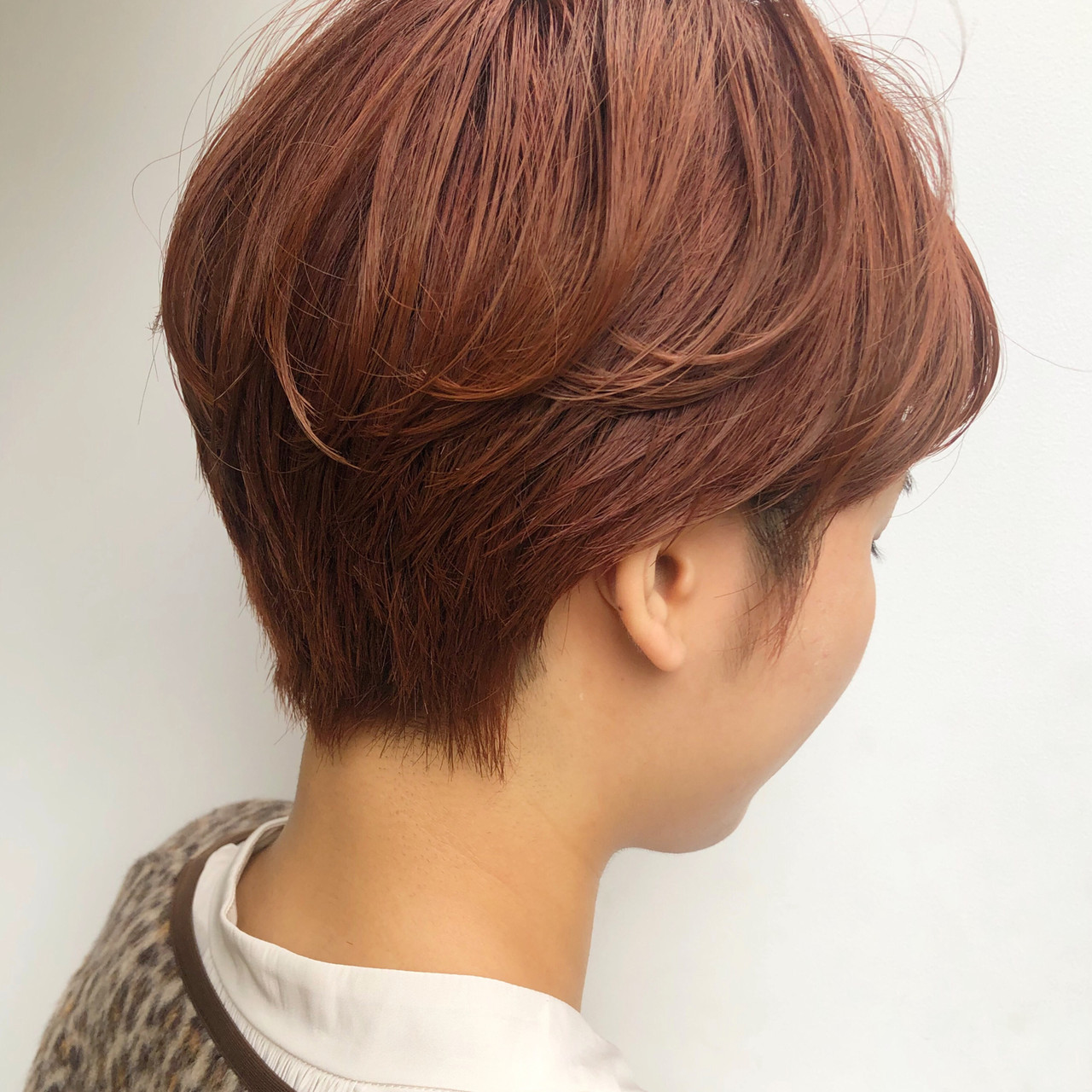 オレンジベージュ ナチュラル ショート オレンジブラウン ヘアスタイルや髪型の写真・画像