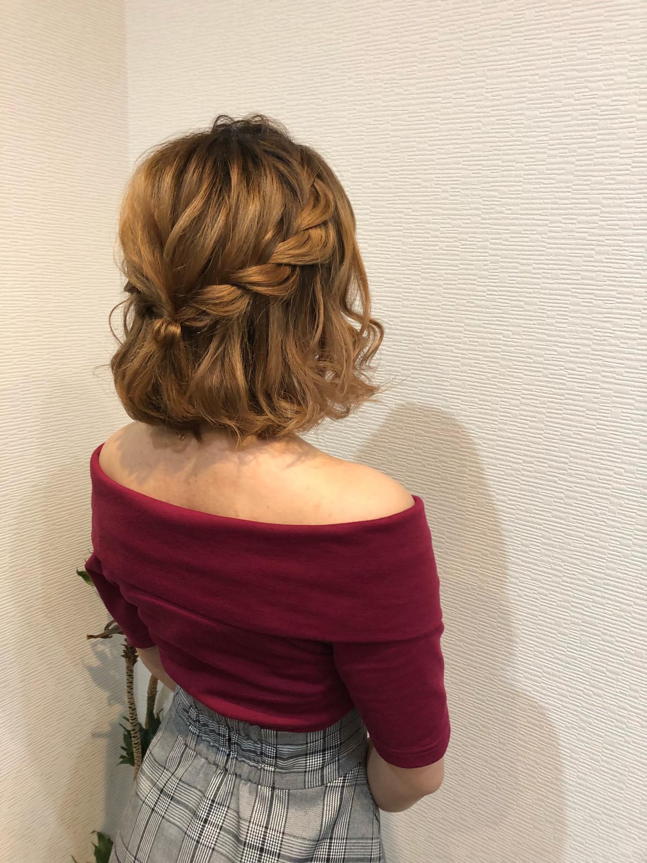 ボブ フェミニン 編み込み ボブアレンジ ヘアスタイルや髪型の写真・画像