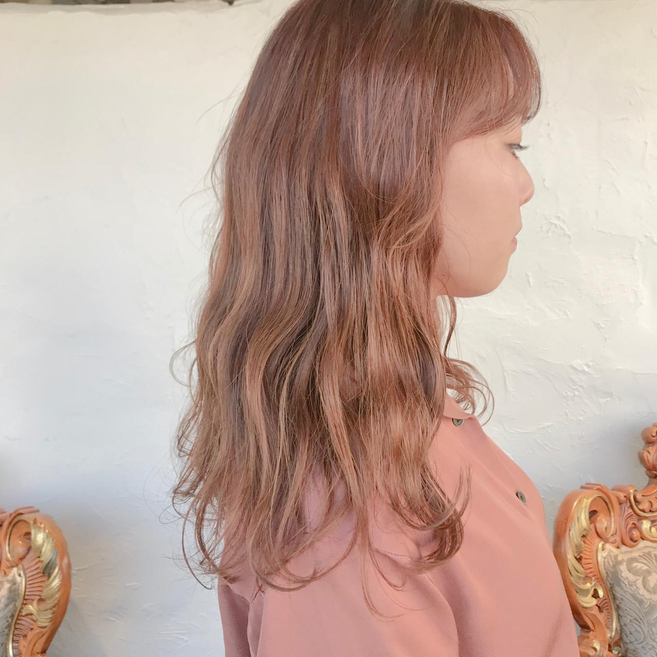 オレンジカラー オレンジベージュ ミルクグレージュ オレンジブラウン ヘアスタイルや髪型の写真・画像