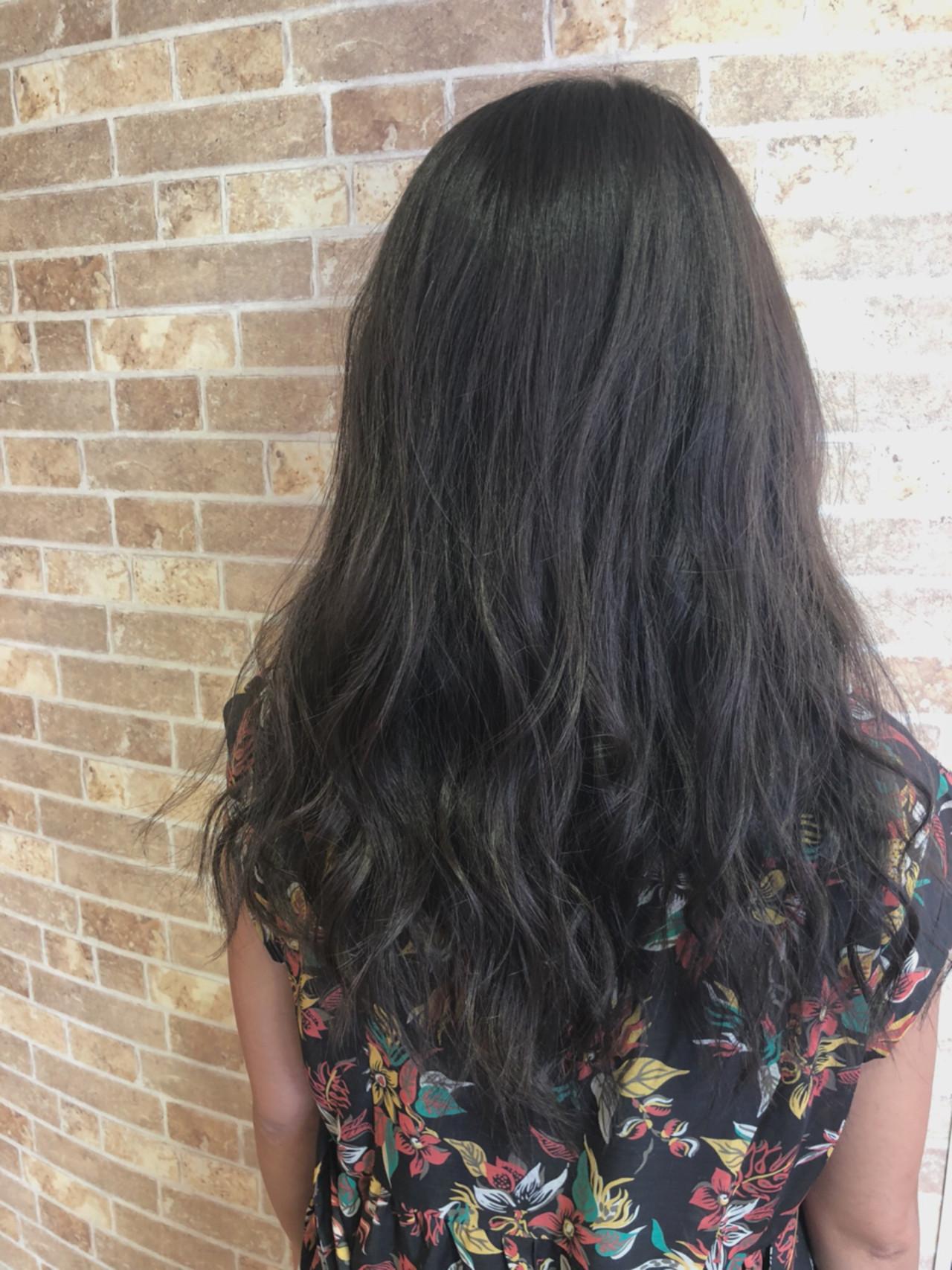 バレイヤージュ 透明感 セミロング マット ヘアスタイルや髪型の写真・画像