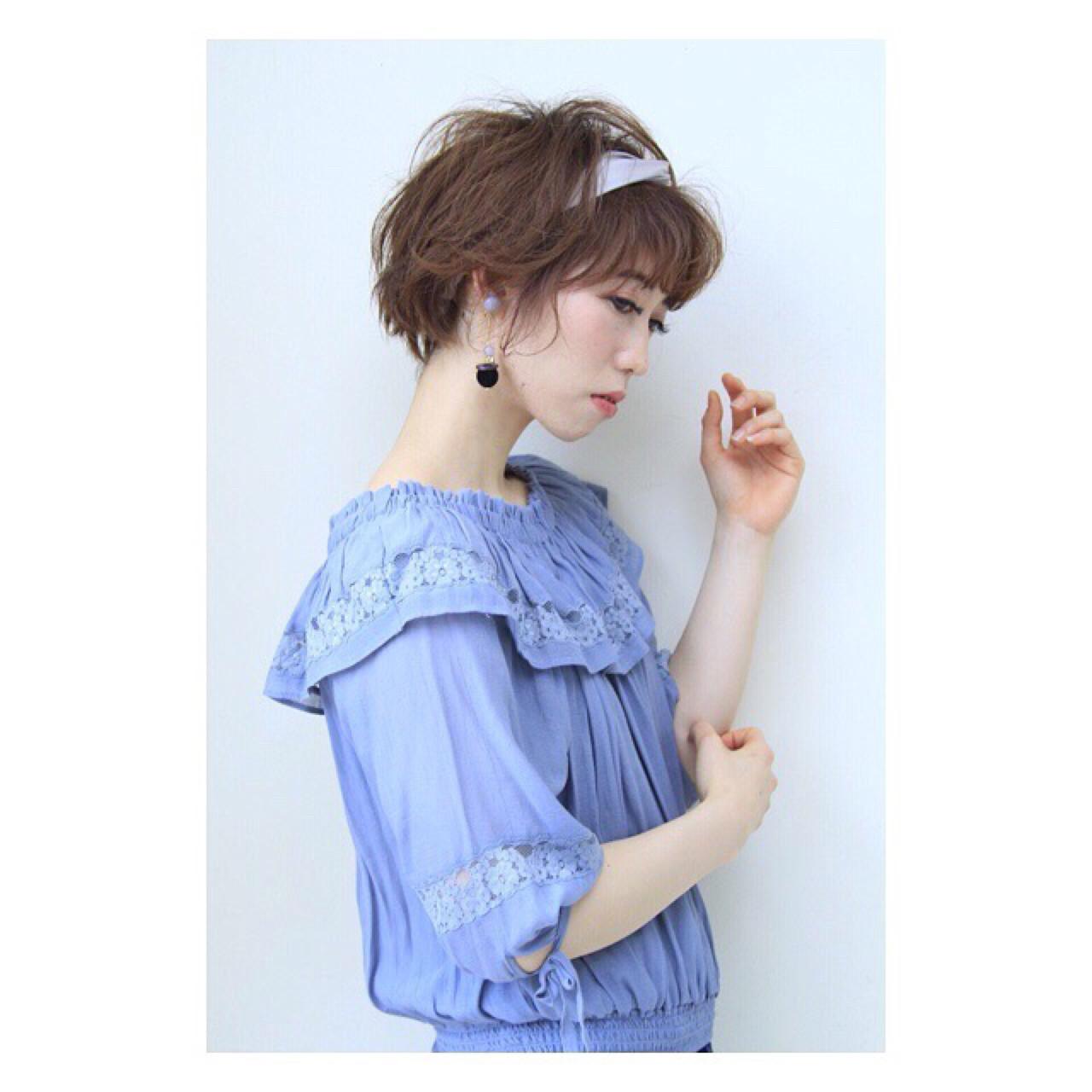 ショート ヘアアクセ マッシュ ショートボブ ヘアスタイルや髪型の写真・画像