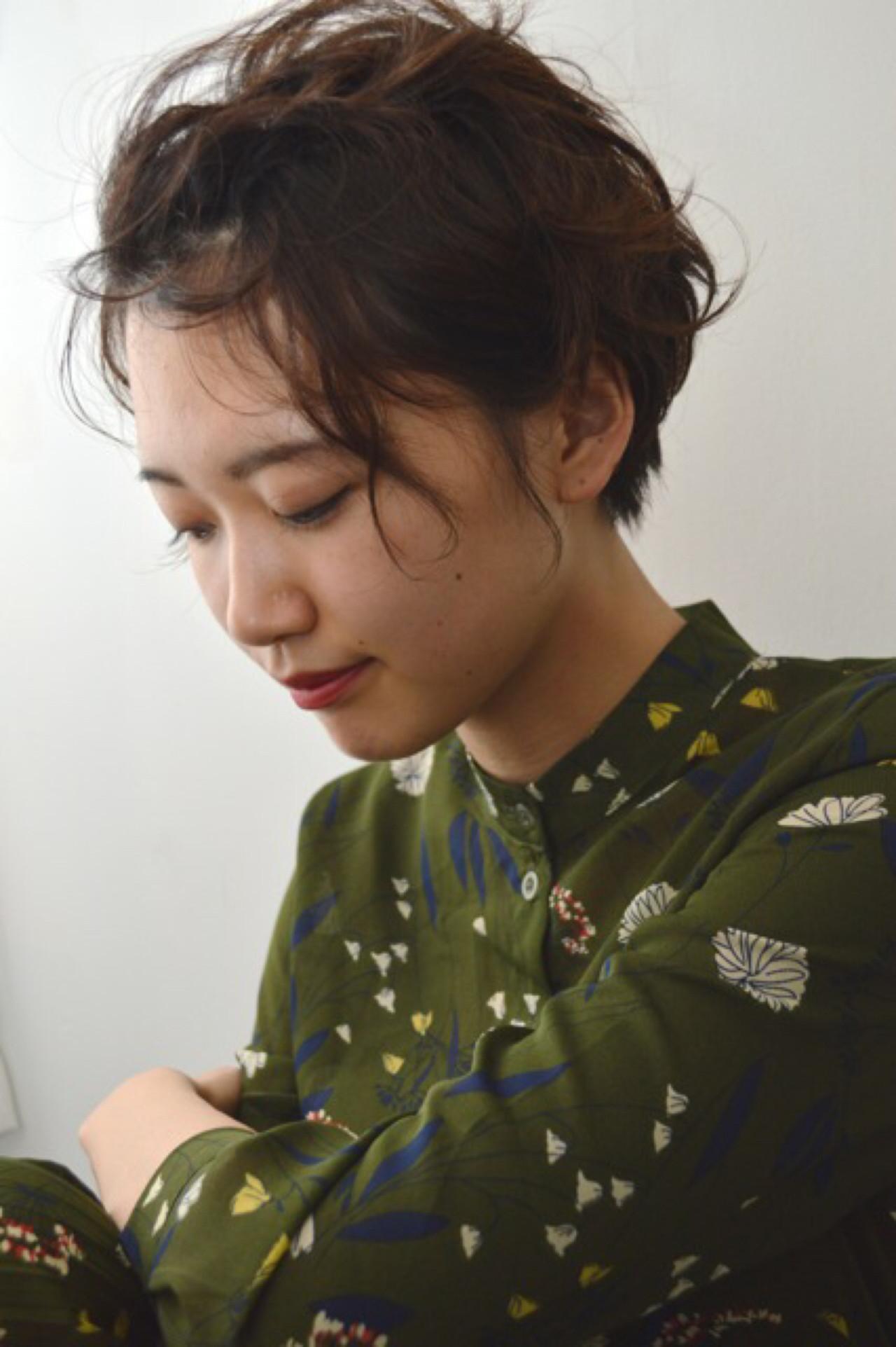 ショート ハーフアップ 内巻き 簡単ヘアアレンジ ヘアスタイルや髪型の写真・画像