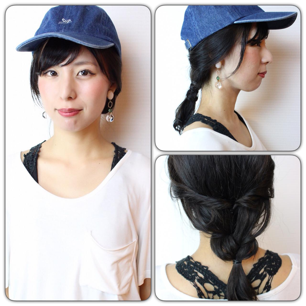 ミディアム デート アッシュ キャップ ヘアスタイルや髪型の写真・画像