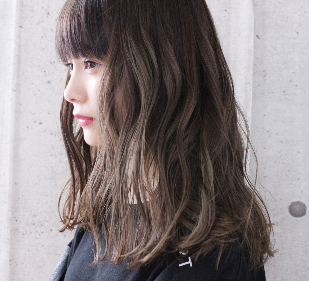 【ロング】重め前髪が◎なふんわりスタイル 上田智久 福岡 天神