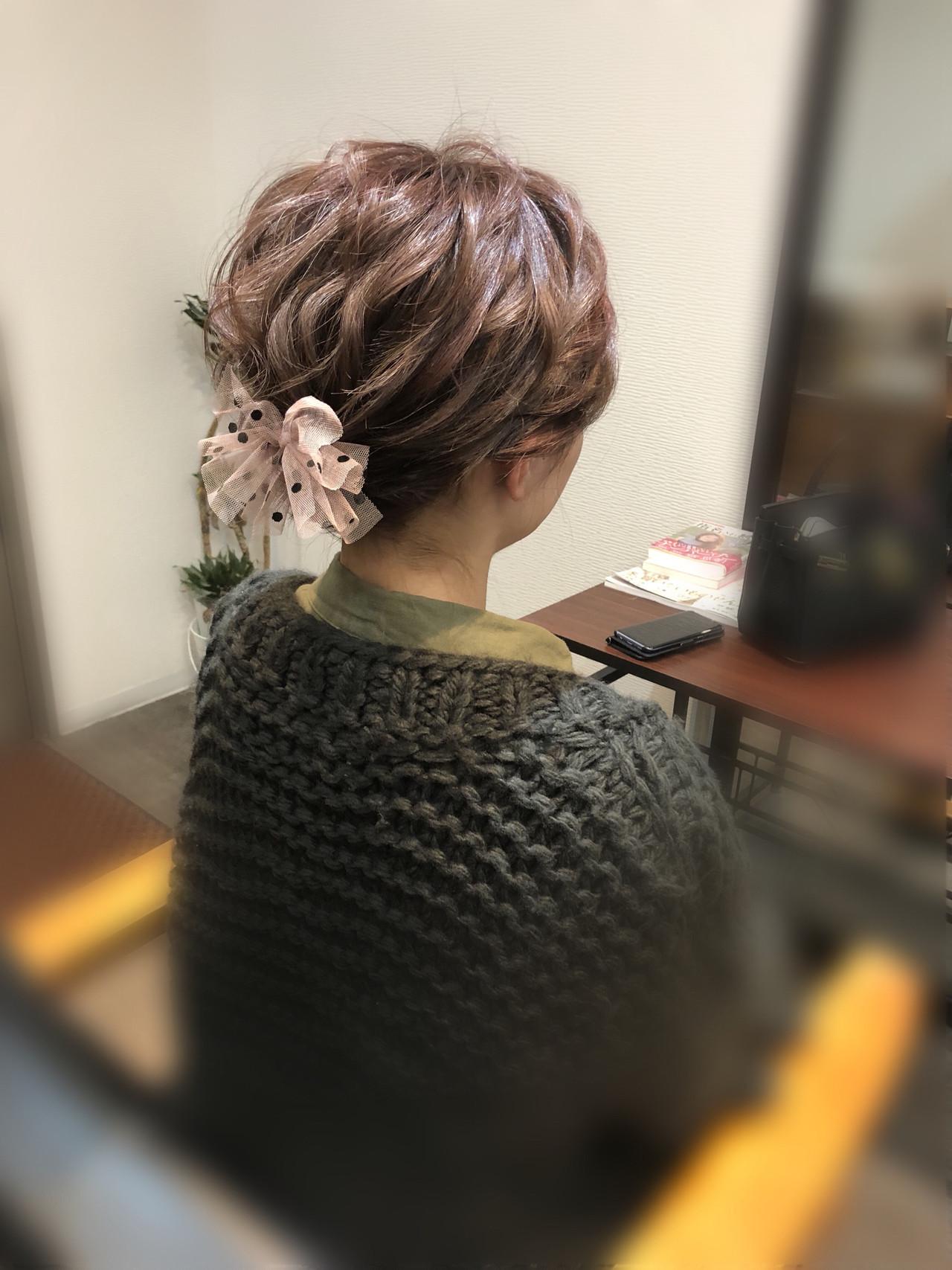 ショート ヘアセット アップスタイル ショートヘアアレンジ ヘアスタイルや髪型の写真・画像