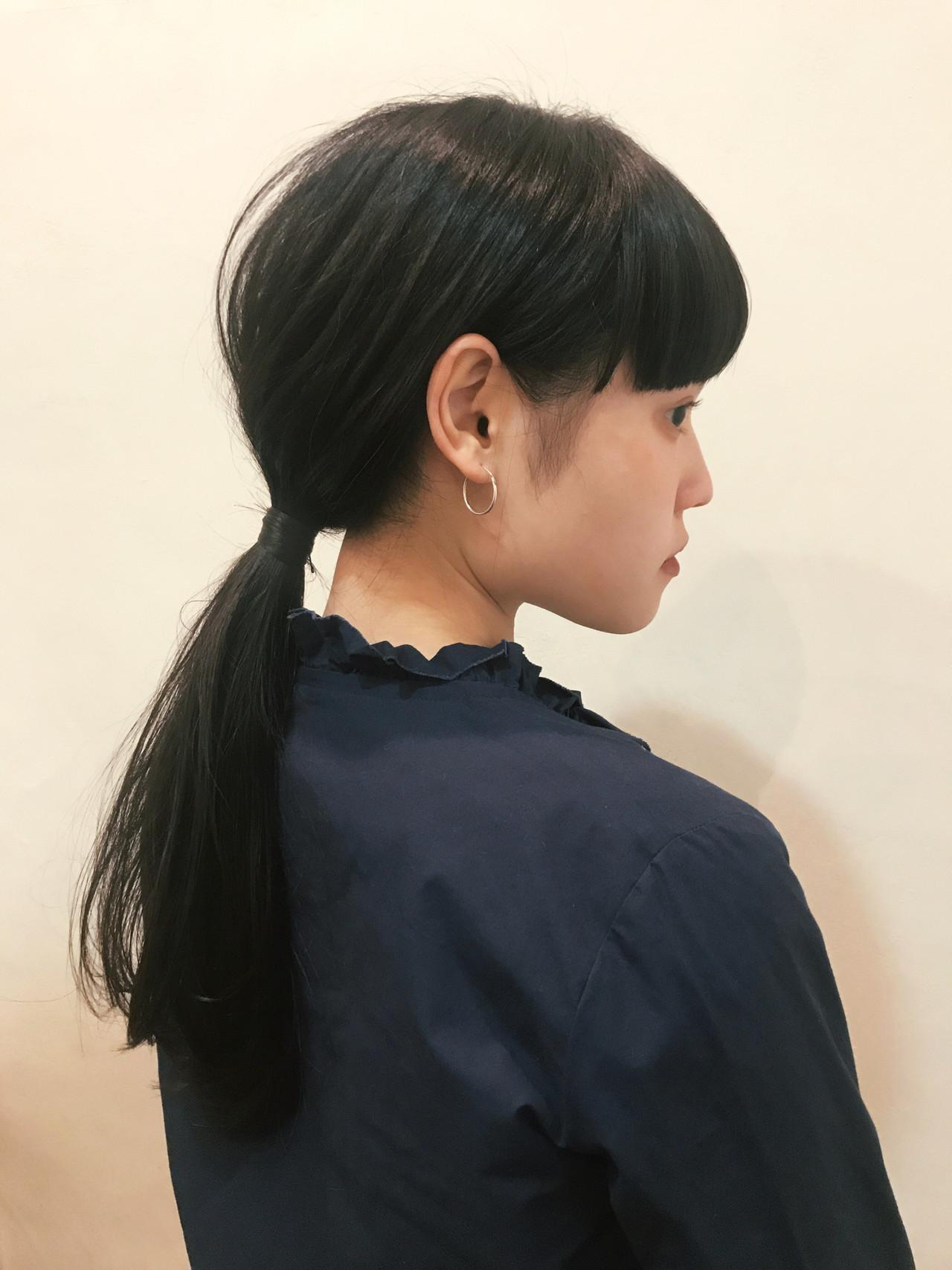 黒髪ロングストレートはポニーテールヘアアレンジに おかゆ  tete nico