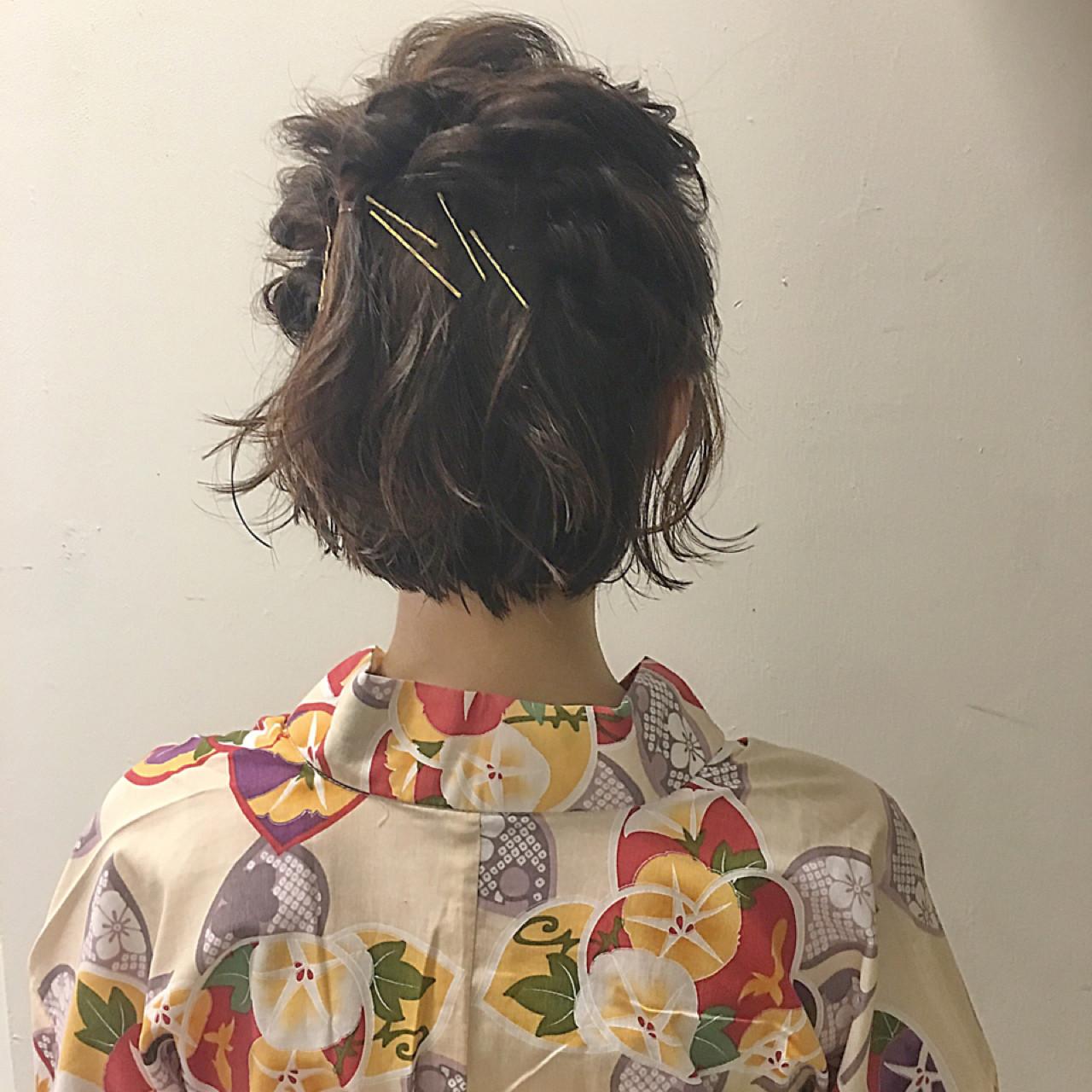 ナチュラル ショート 簡単ヘアアレンジ お祭り ヘアスタイルや髪型の写真・画像
