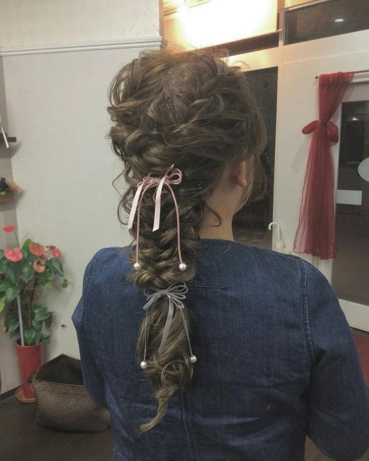 ナチュラル ヘアアレンジ ロング ロープ編みアレンジヘア ヘアスタイルや髪型の写真・画像