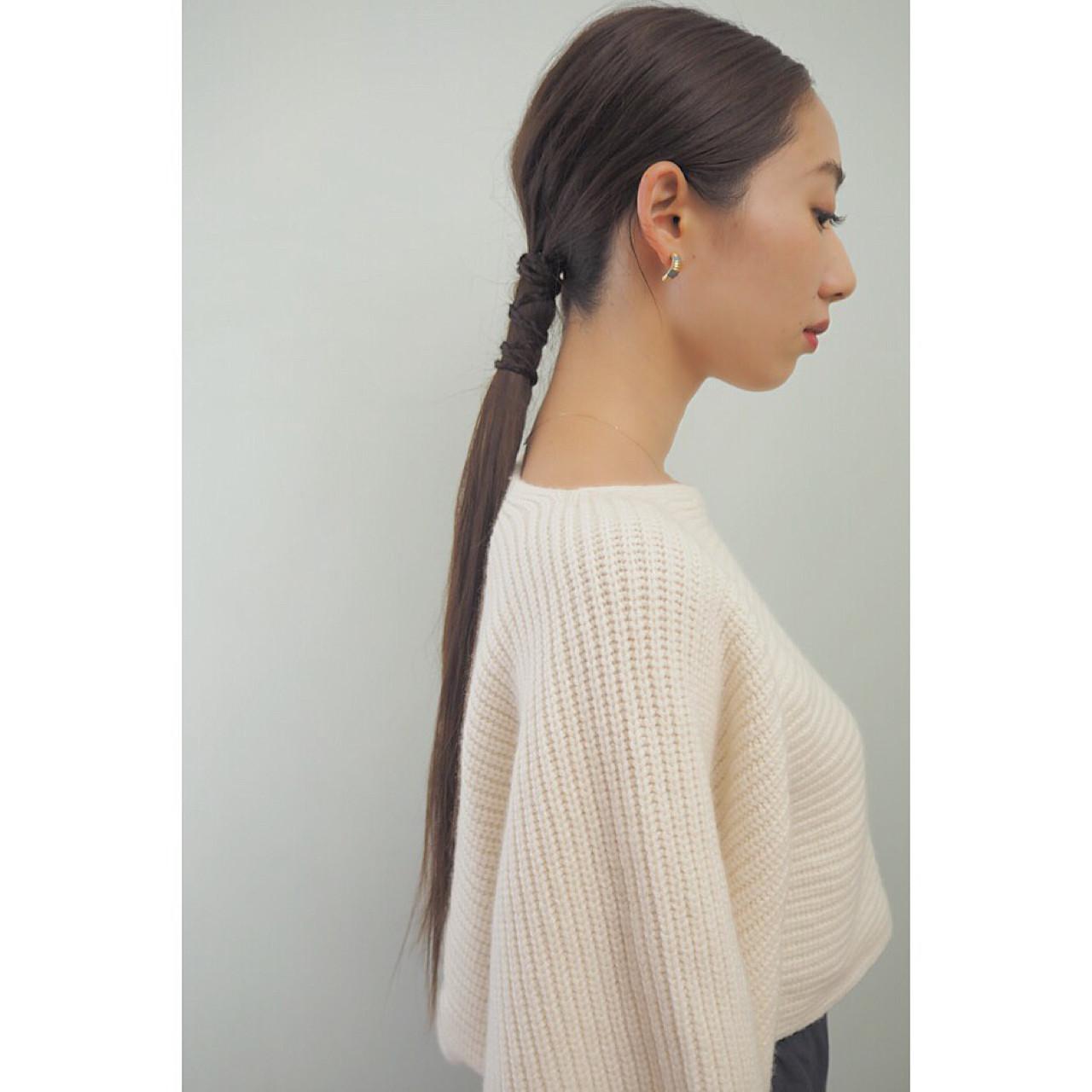 ストレート ヘアアレンジ ロング 大人女子 ヘアスタイルや髪型の写真・画像