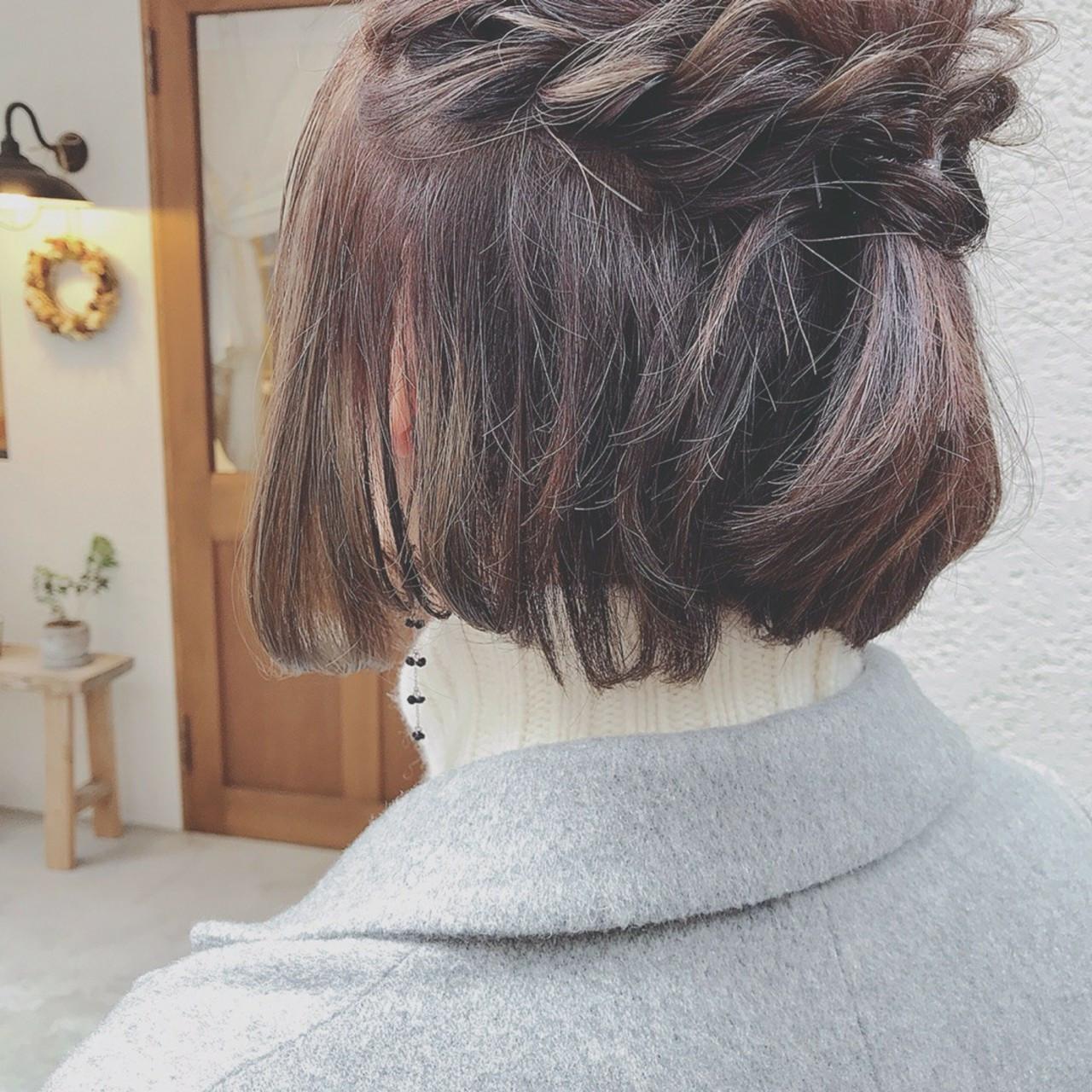 大人かわいい ボブ フェミニン 簡単ヘアアレンジ ヘアスタイルや髪型の写真・画像