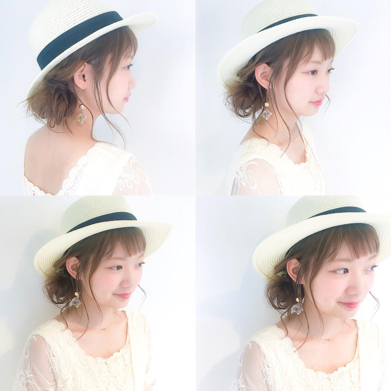 女子会 夏 麦わら帽子 ナチュラル ヘアスタイルや髪型の写真・画像
