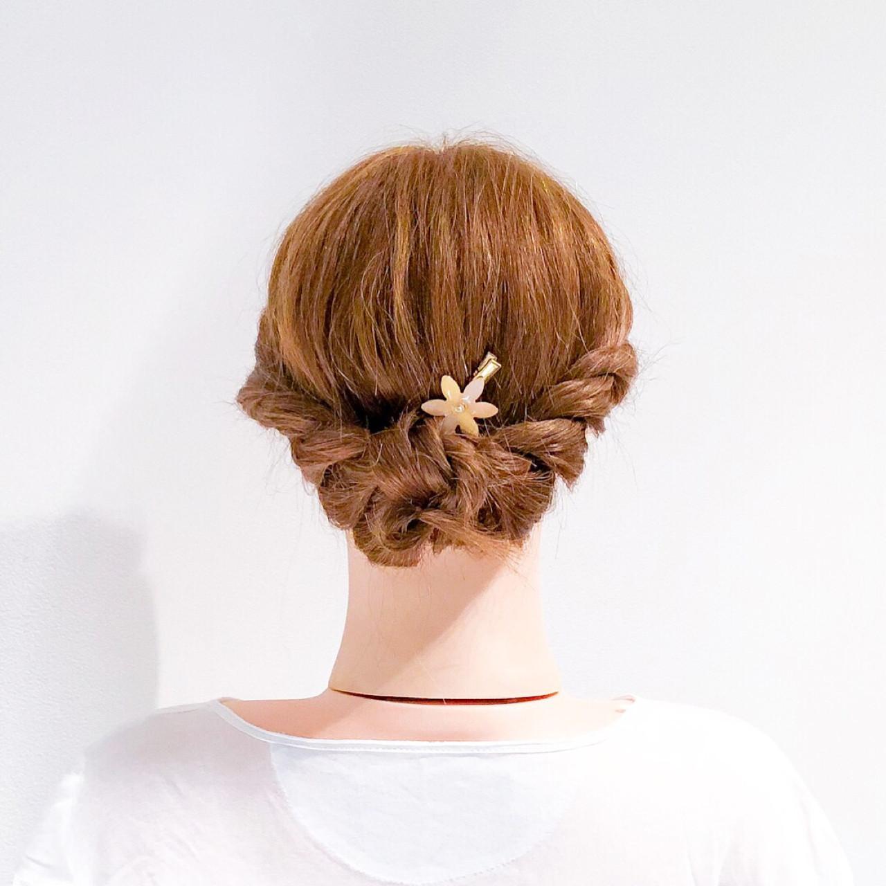 ロング 簡単ヘアアレンジ ロープ編み ミディアム ヘアスタイルや髪型の写真・画像