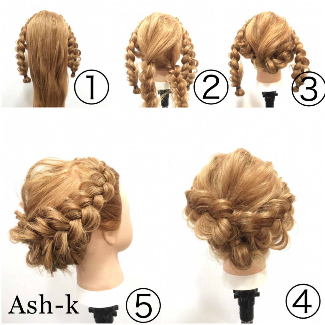 エレガント 三つ編み 大人女子 簡単ヘアアレンジ ヘアスタイルや髪型の写真・画像