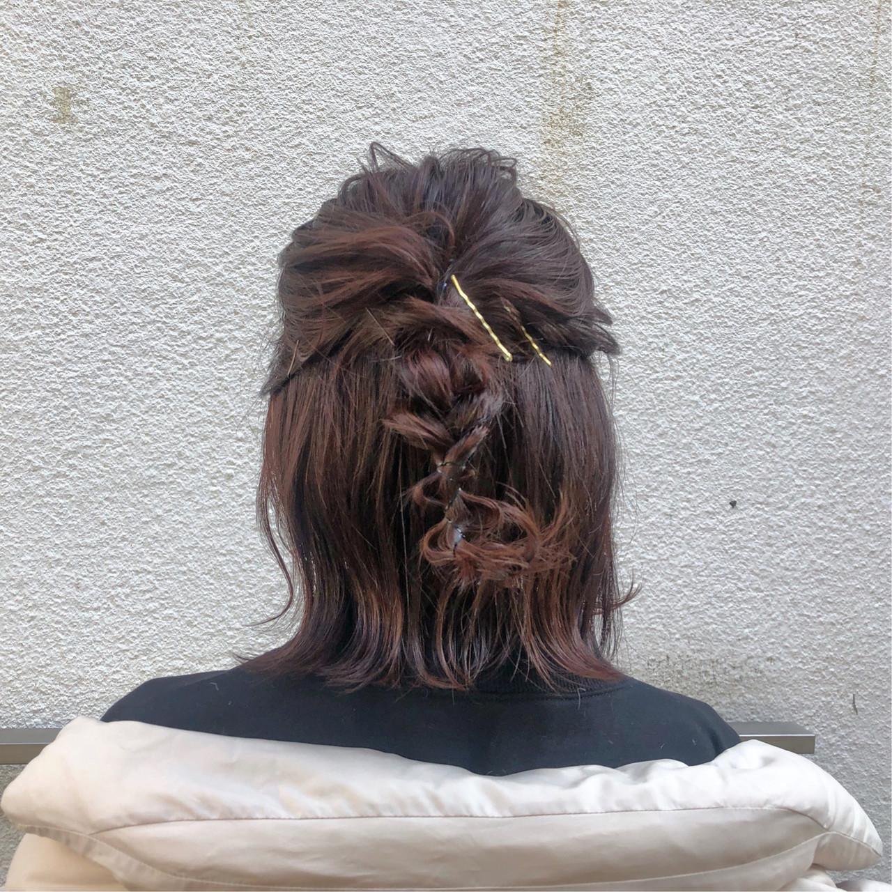 アンニュイほつれヘア ヘアアレンジ ハーフアップ デート ヘアスタイルや髪型の写真・画像