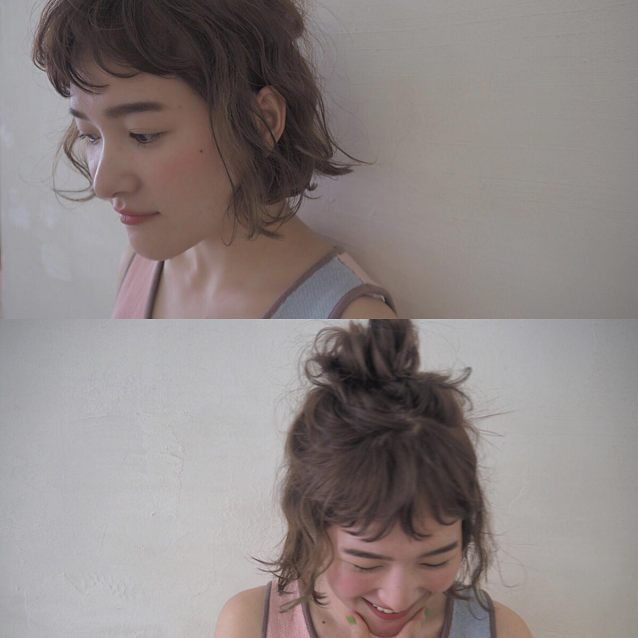 簡単ヘアアレンジ ハーフアップ お団子 波ウェーブ ヘアスタイルや髪型の写真・画像