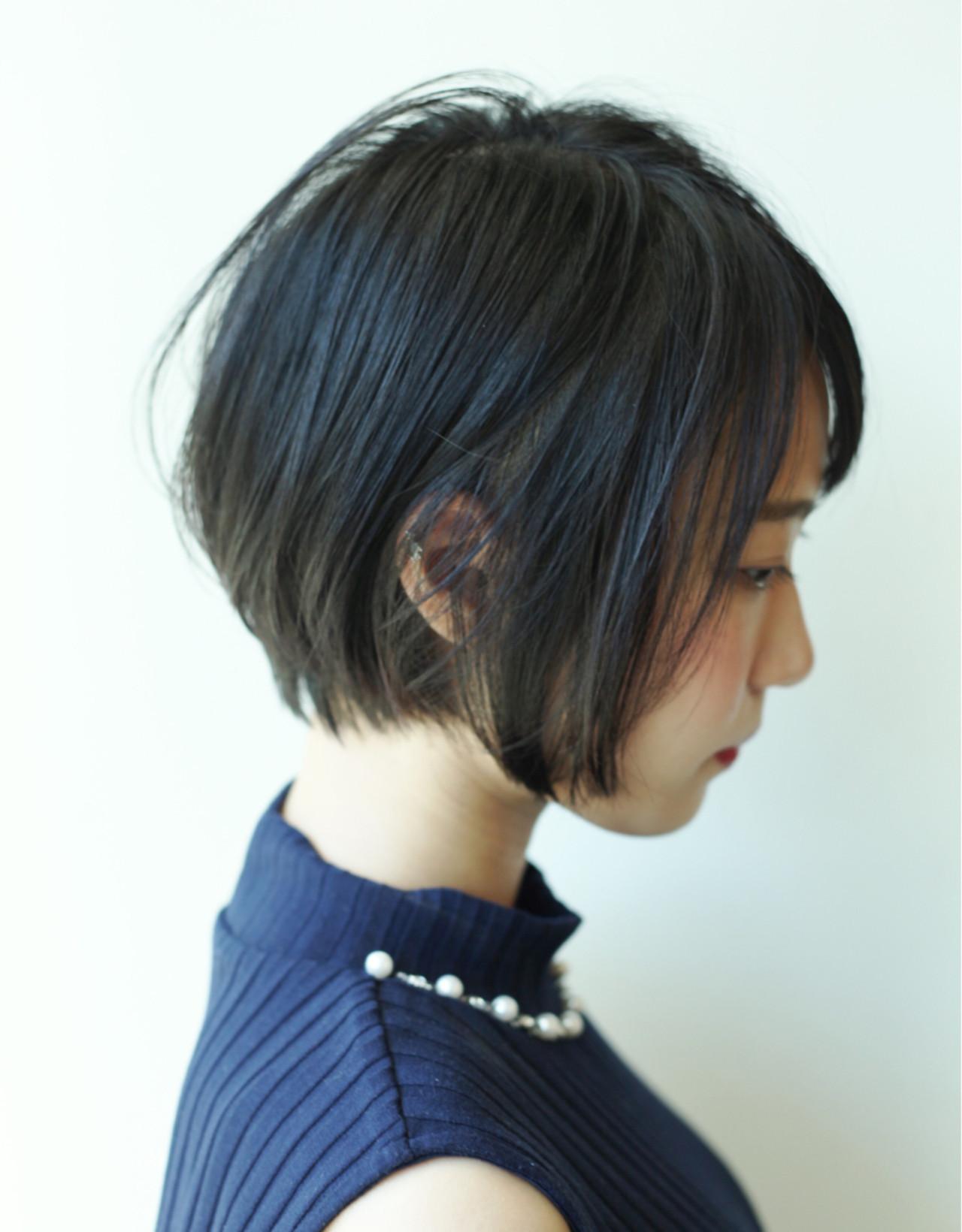 ショートボブ ショート 黒髪 ナチュラル ヘアスタイルや髪型の写真・画像