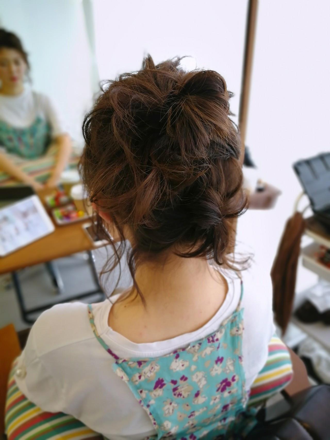 ガーリー ヘアアレンジ  ボブ ヘアスタイルや髪型の写真・画像