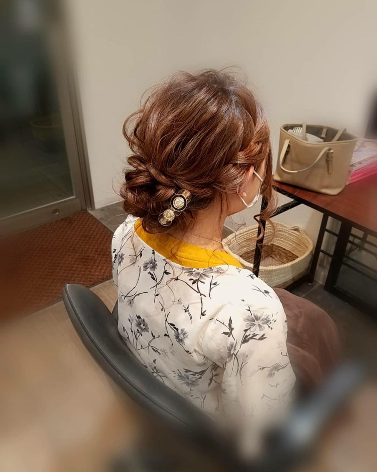 フェミニン アップスタイル 編み込み ロング ヘアスタイルや髪型の写真・画像
