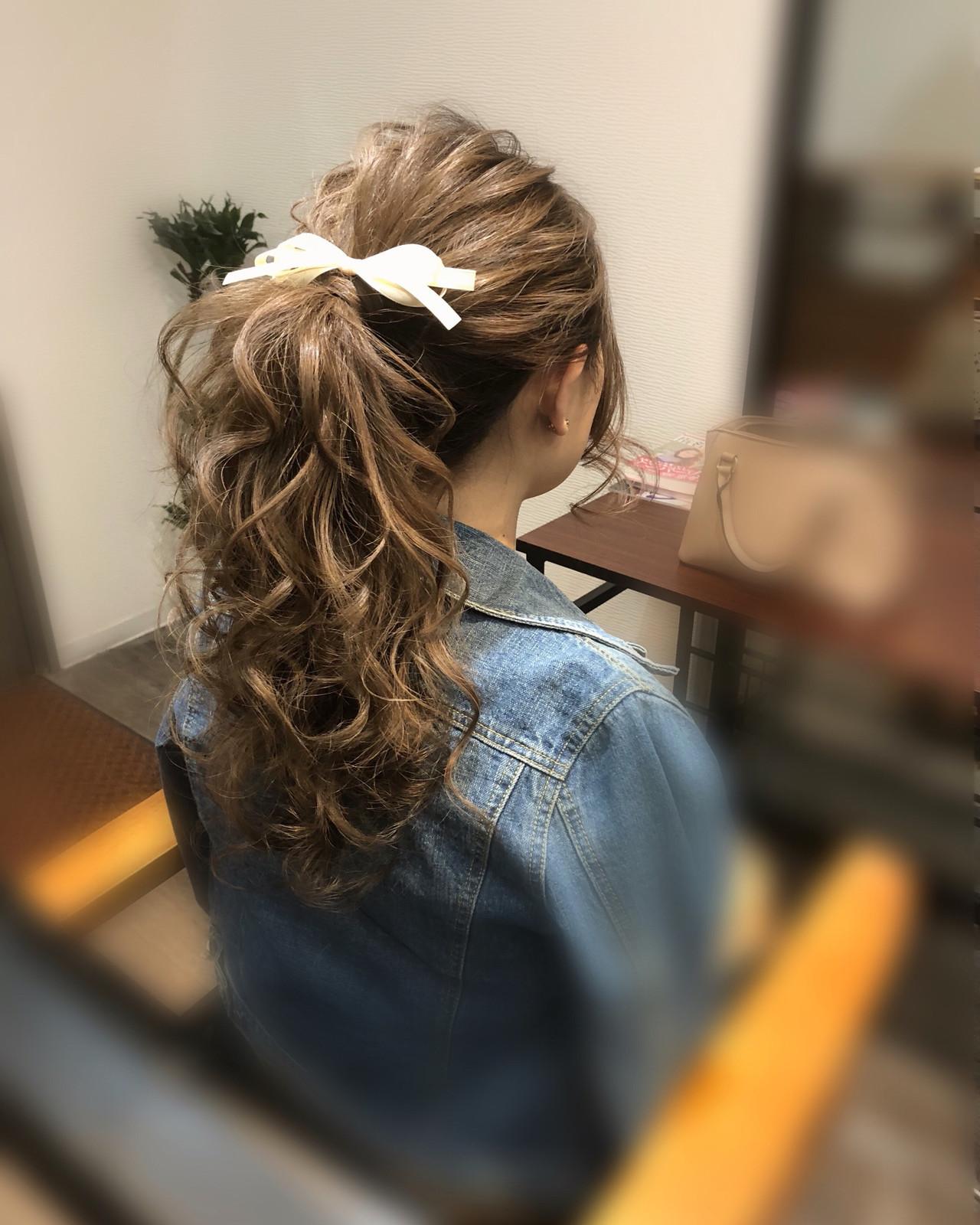 ポニーテール フェミニン ヘアアレンジ ロング ヘアスタイルや髪型の写真・画像