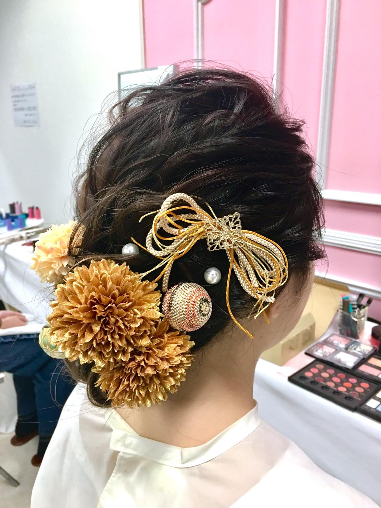 成人式 ヘアアレンジ セミロング アップスタイル ヘアスタイルや髪型の写真・画像