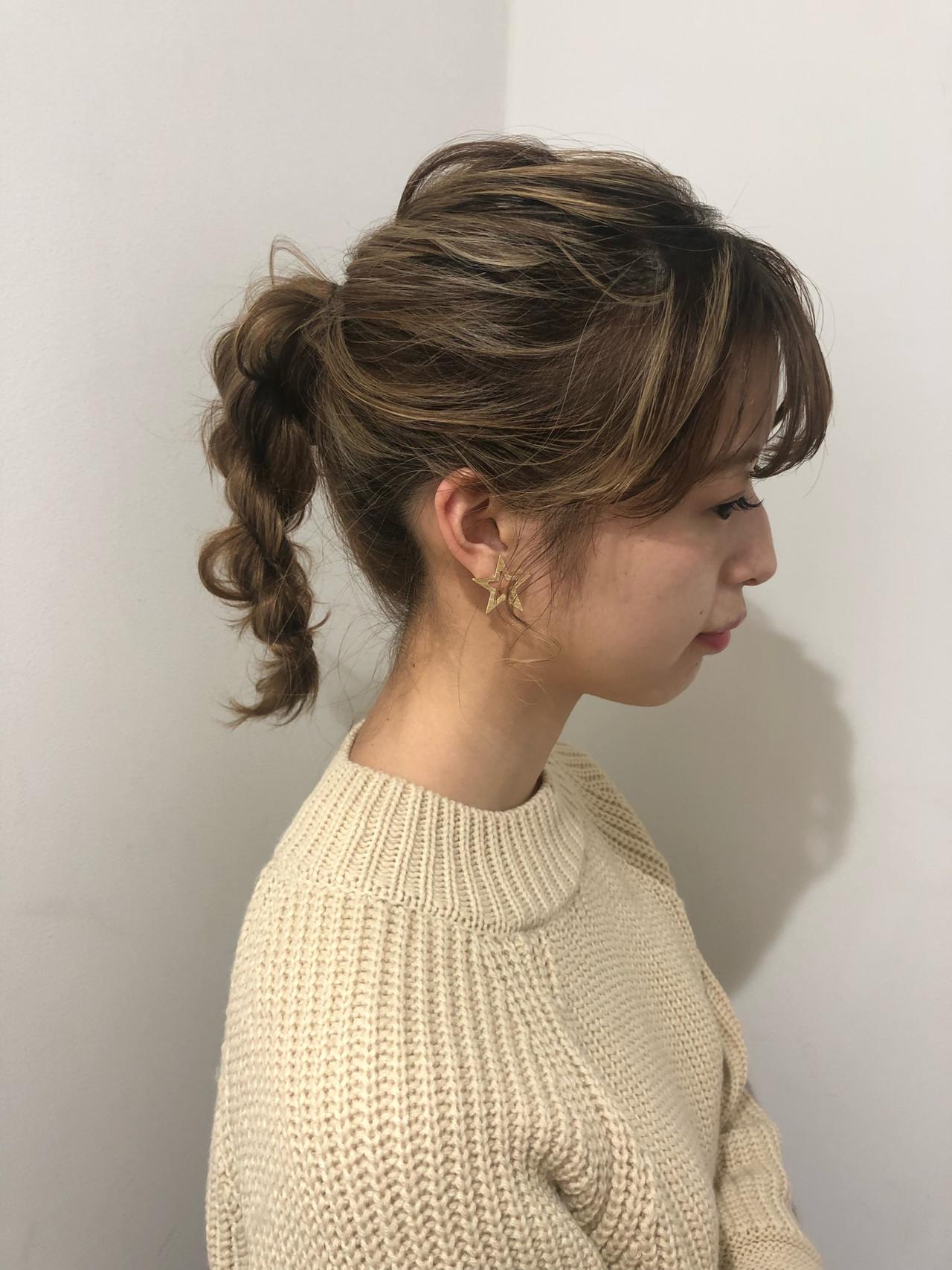 ねじりがポイントの一つ結びアレンジ 銀座美容師 河野絵奈  kakimotoamsGINZA2chome店