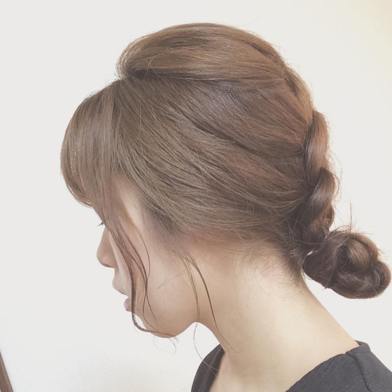まとめ髪 お団子 梅雨 編み込み ヘアスタイルや髪型の写真・画像