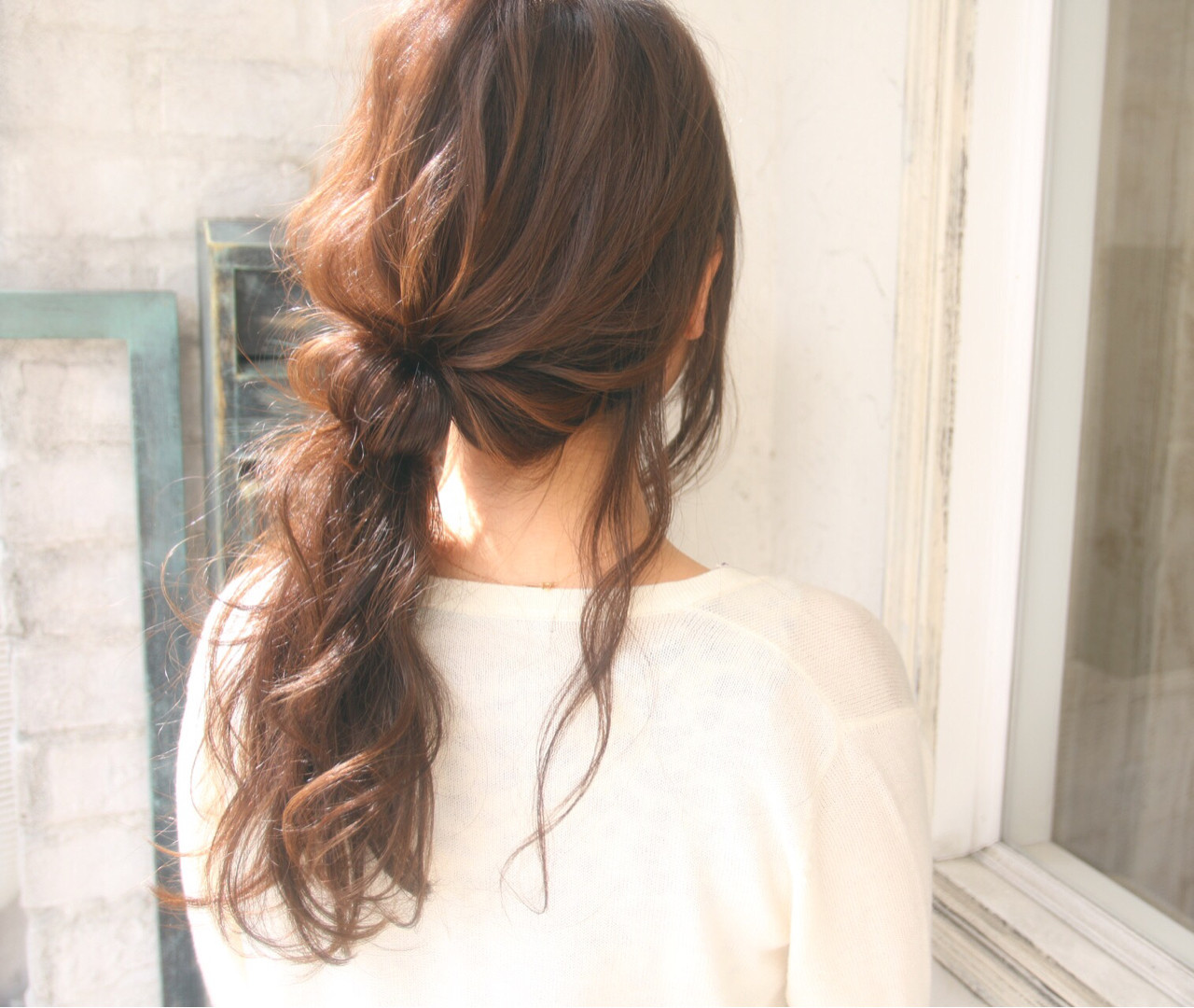 フェミニン ポニーテール 透明感 ロング ヘアスタイルや髪型の写真・画像