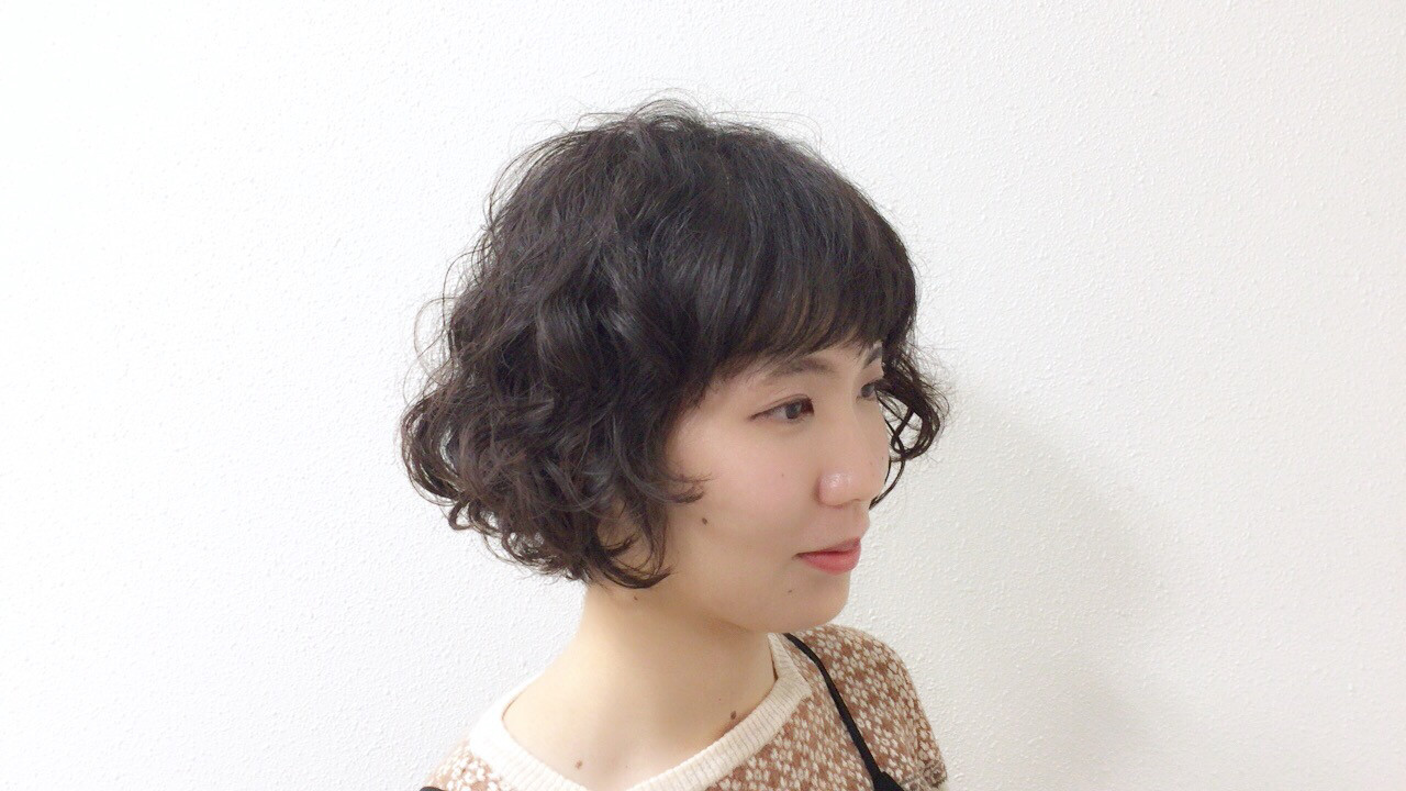 パーマ アニー ミニボブ レトロ ヘアスタイルや髪型の写真・画像