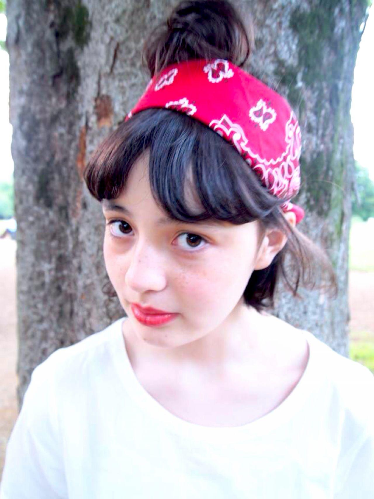 ヘアアレンジ ガーリー バンダナ ヘアスタイルや髪型の写真・画像