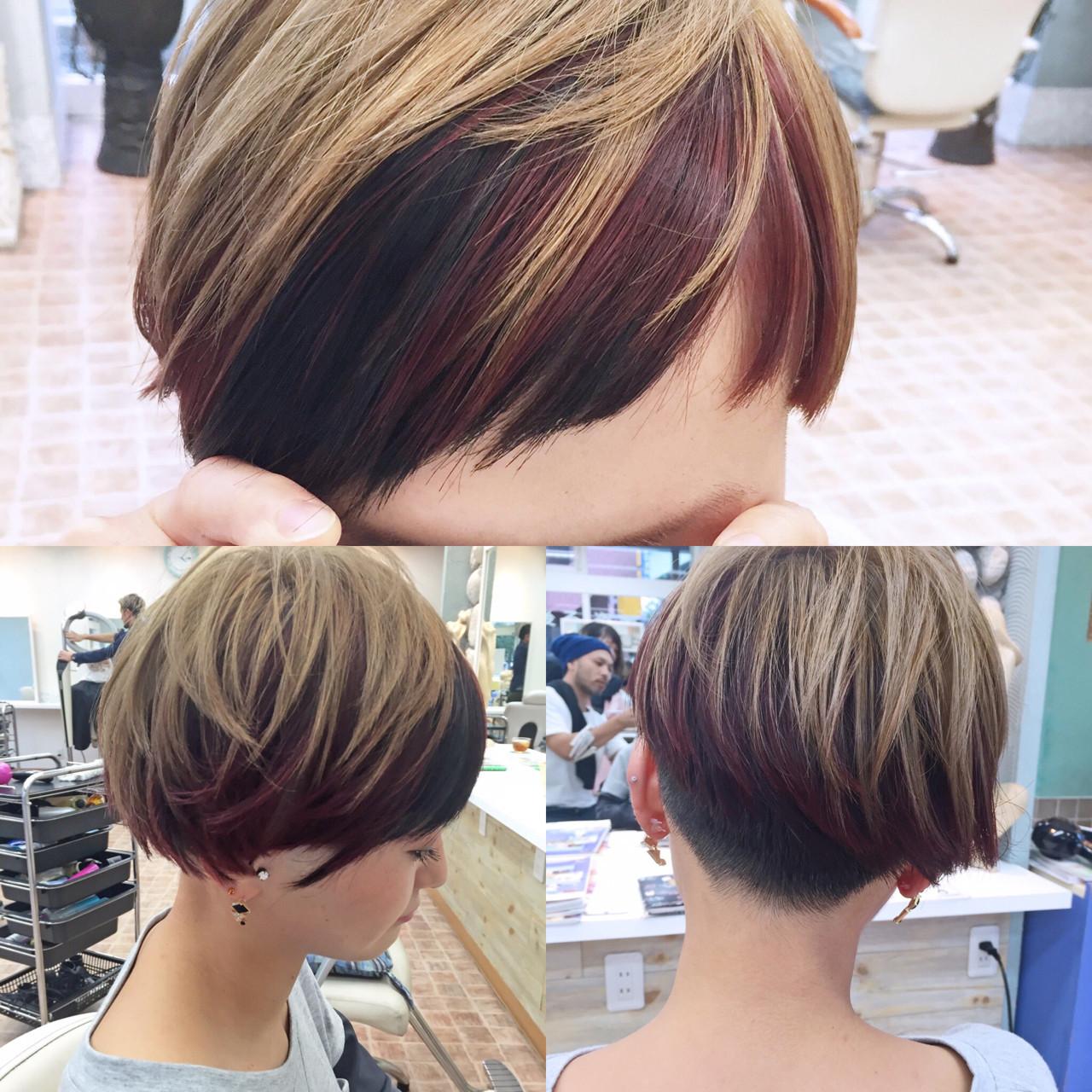 モード ショート レッド ベリーショート ヘアスタイルや髪型の写真・画像