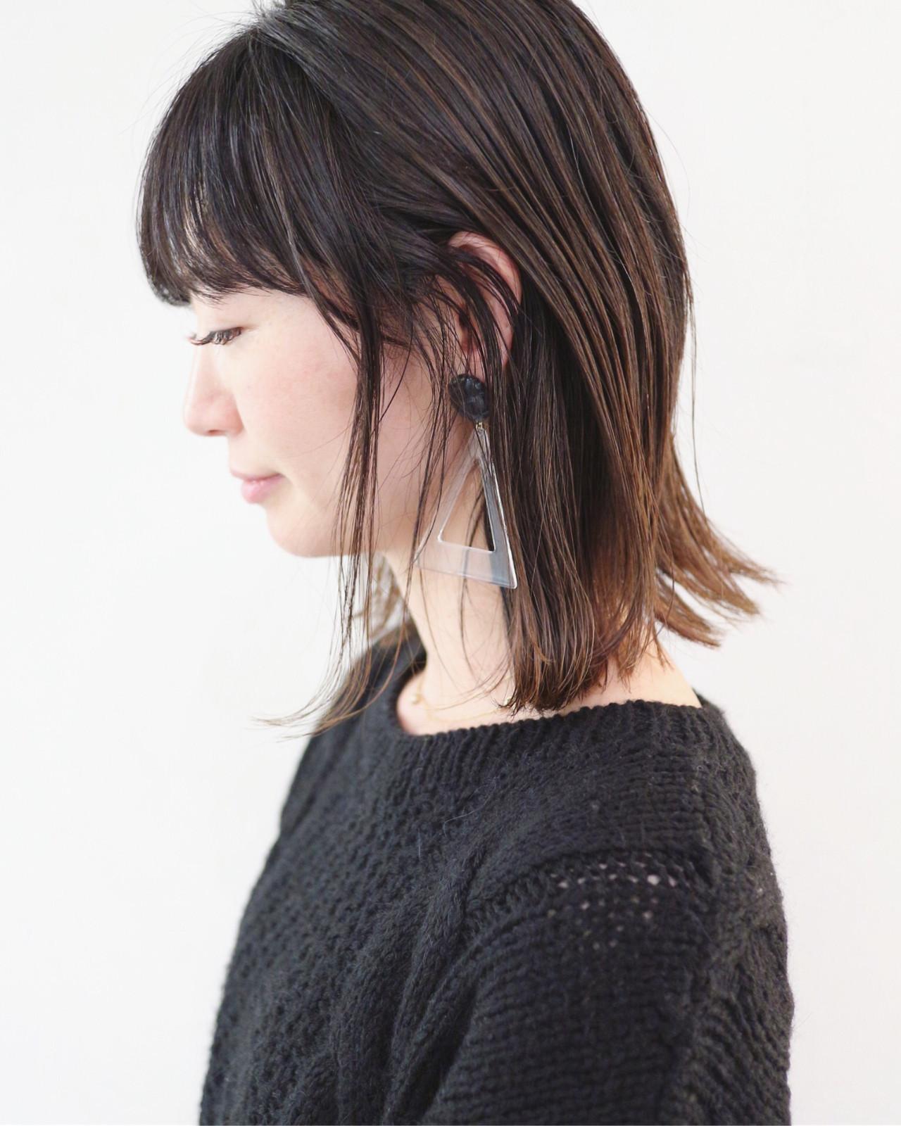 外ハネボブ ミディアム グラデーションカラー ストレート ヘアスタイルや髪型の写真・画像