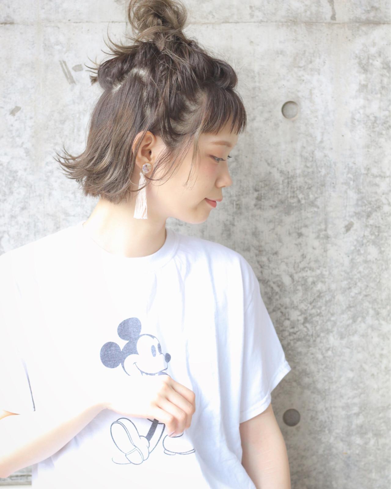 ぱっつん前髪のこなれお団子ボブハーフアップ Wataru Maeda