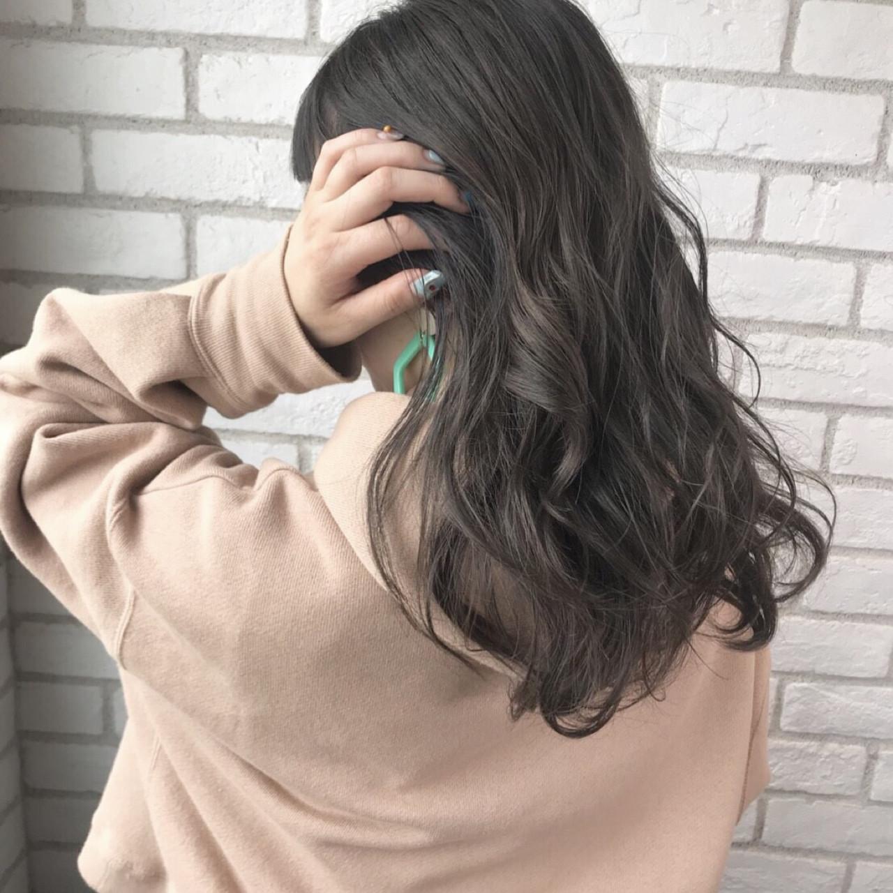 秋 透明感 セミロング マット ヘアスタイルや髪型の写真・画像