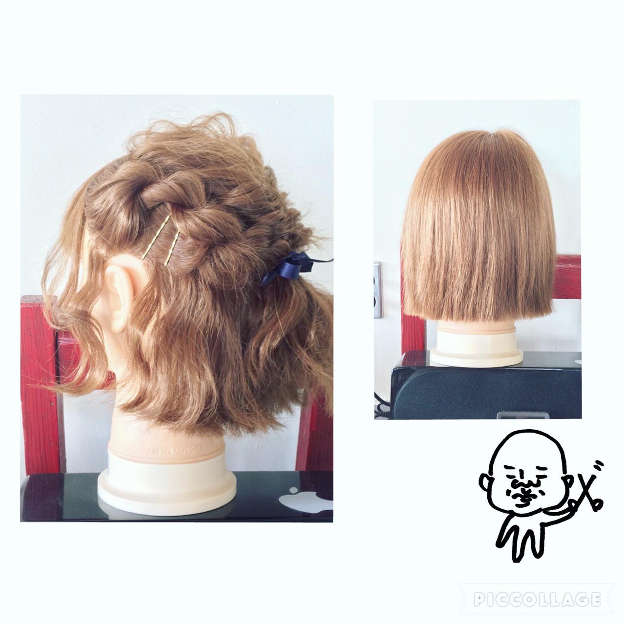 編み込み ねじり ヘアアクセ ヘアピン ヘアスタイルや髪型の写真・画像