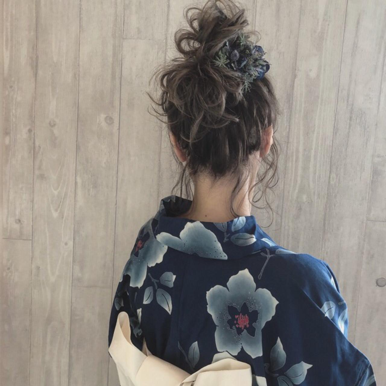 ガーリー 色気 ボブ お団子 ヘアスタイルや髪型の写真・画像