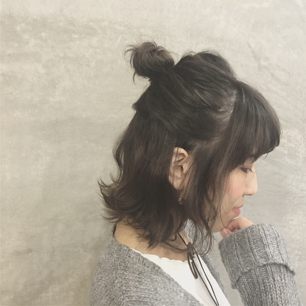 ふんわり前髪でつくるロマンチックお団子ボブ Ayaco