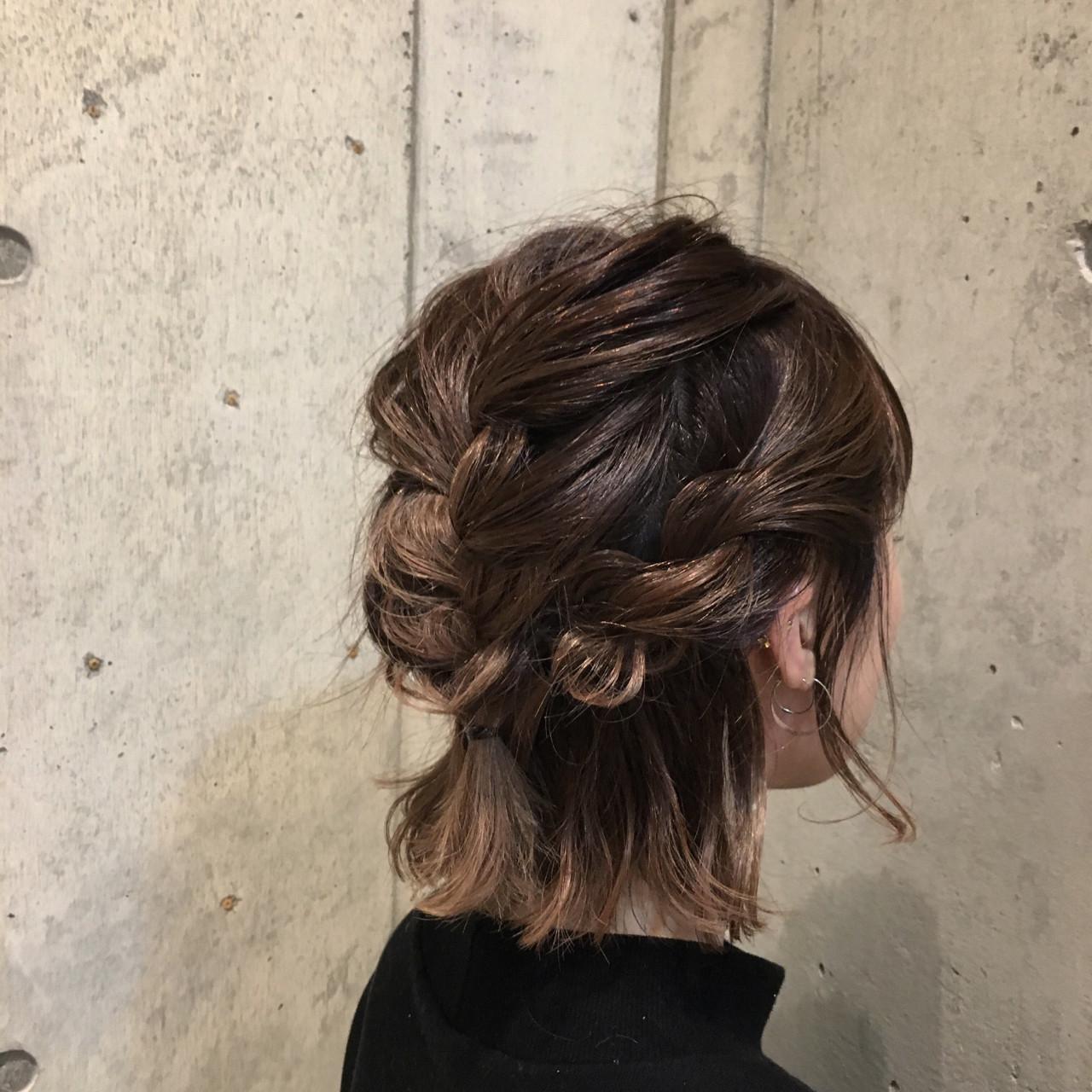 デート ボブ ヘアアレンジ 編み込み ヘアスタイルや髪型の写真・画像